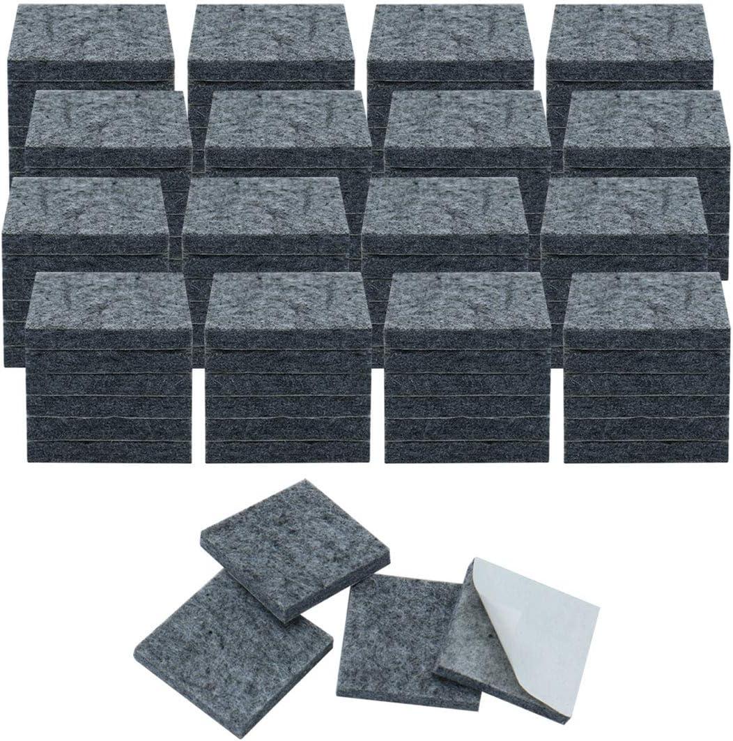 "uxcell 100pcs Furniture Pads Square 3/4"" Self-Stick Non-Slip Anti-Scratch Felt Pads Floors Protector Grey"