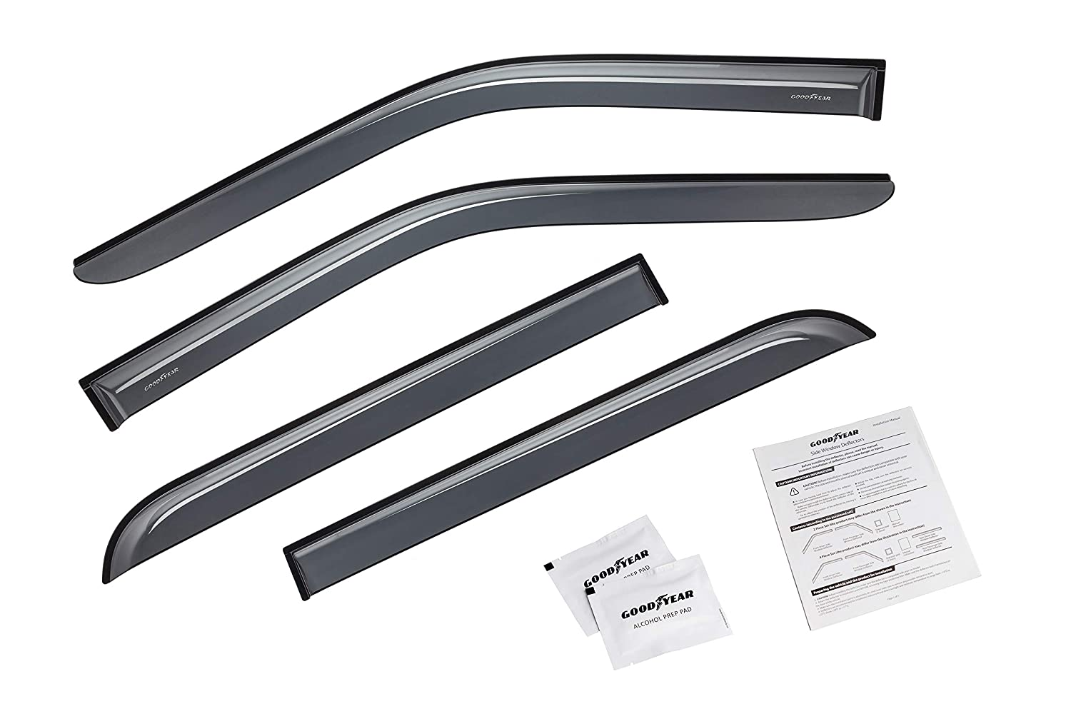 Window Visors 4 Pieces Tape-on Rain Guards GY003112 Goodyear Shatterproof Side Window Deflectors for Trucks Ford F-150 2015-2019 SuperCrew Cab