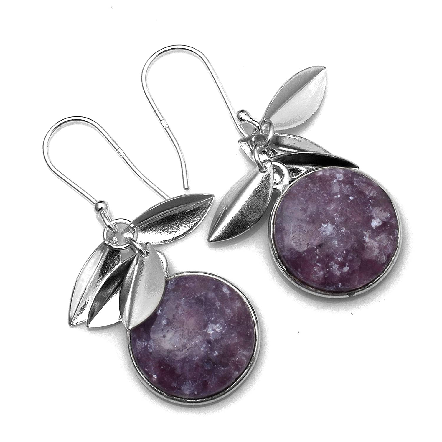 Silver Palace Sterling Silver Lepidolite Earrings for Womens and Girls