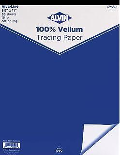 ALVIN 6855-S-8 ALVA-LINE 100/% RAG VELLUM TRACING PAPER 100-SHEET PACK 18 X 24