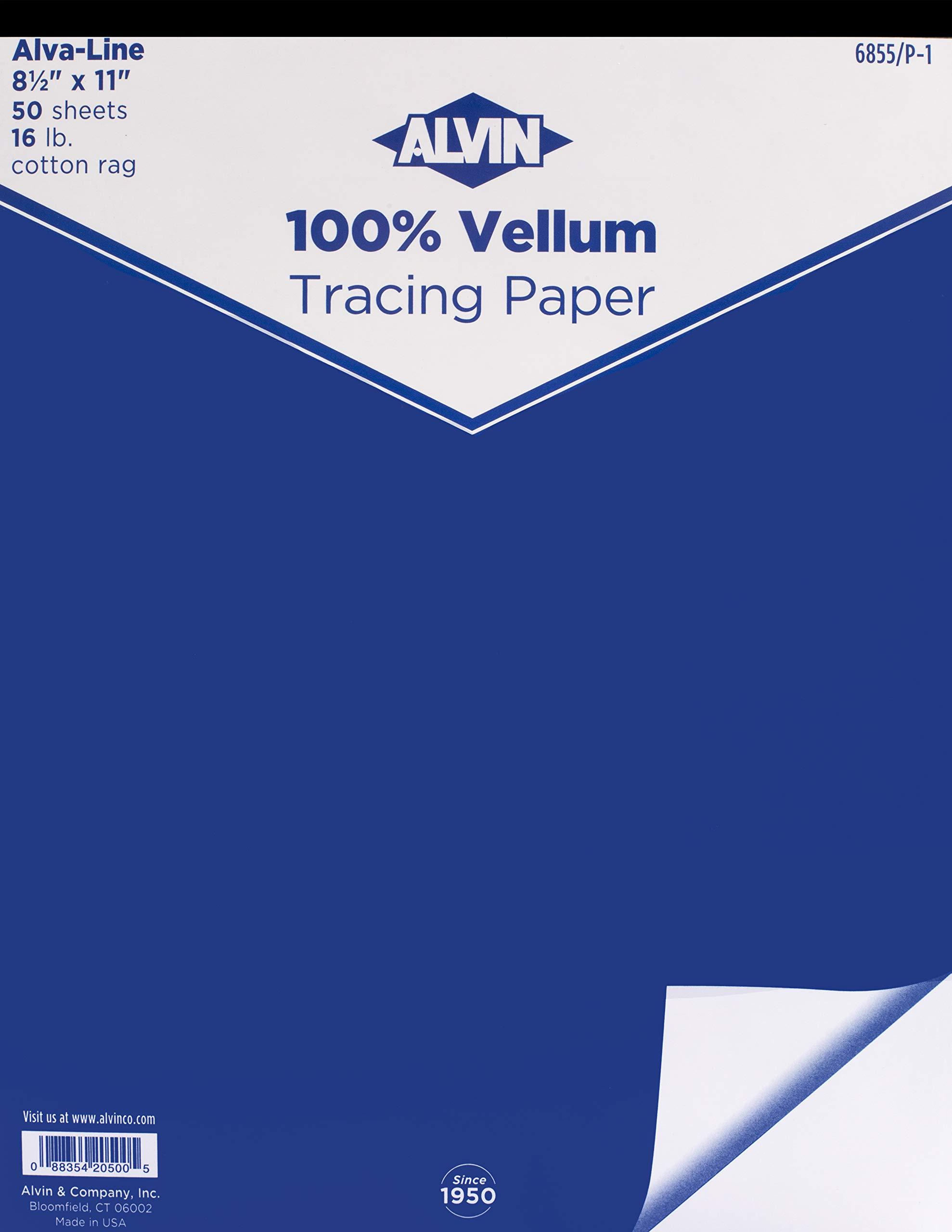 Alvin 6855/P-1 Alva-Line 100 percent Rag Tracing Paper 50-Sheet Pad 8 1/2 inches x 11 inches by Alvin