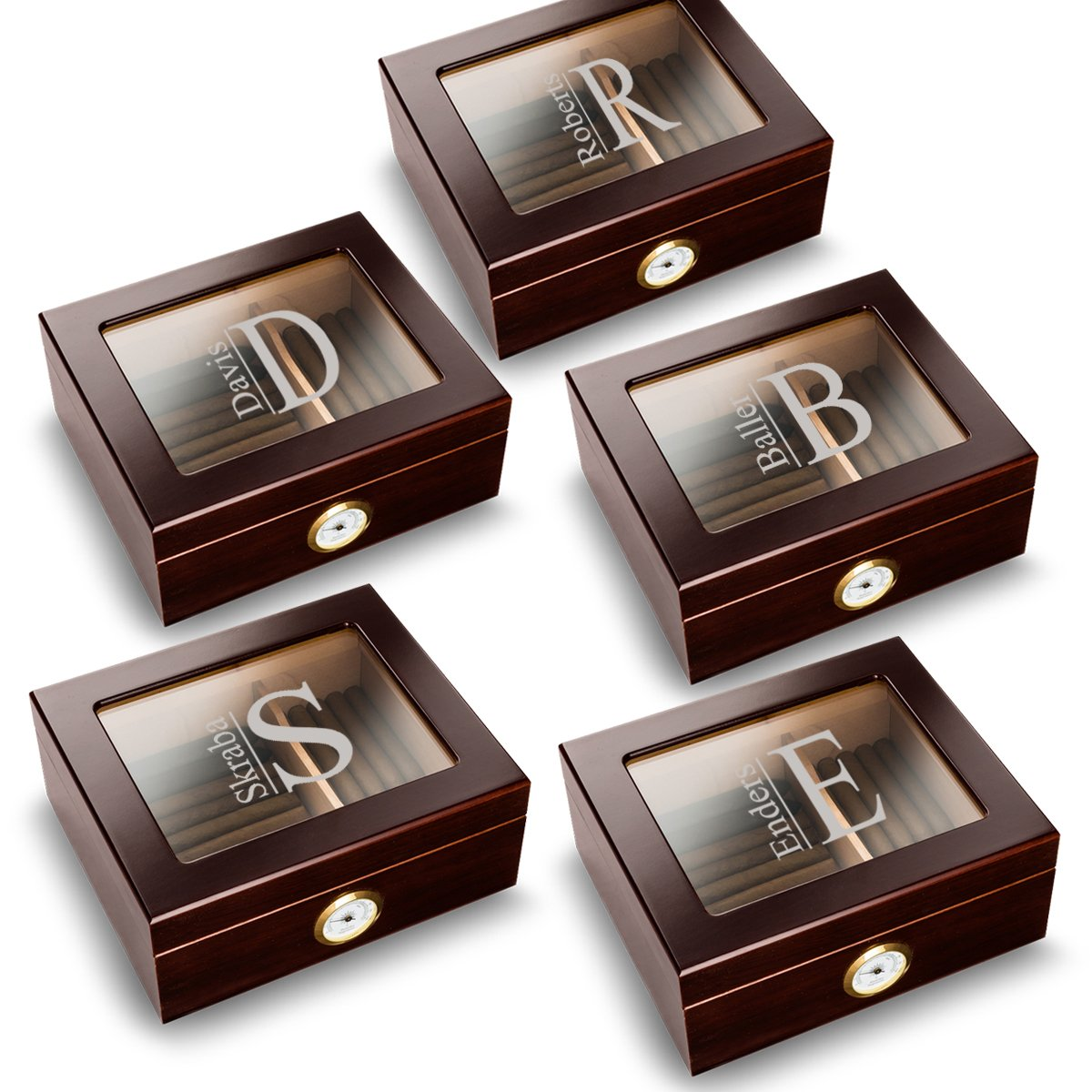 Personalized Mahogany Trinidad Glass Top Humidors - Set of 5 Humidors for Groomsmen - Modern
