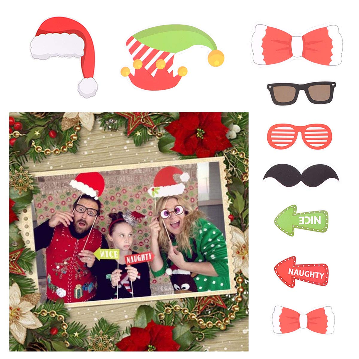 Amazon.com: Tinksky Christmas Party Photo Booth Props Creative Happy ...