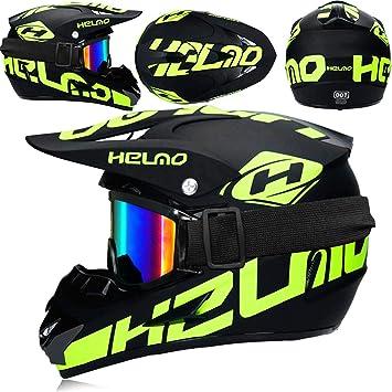 Jwl Motorradhelm Cross Helme Schutzhelm Motocross Helm Für Motorrad Crossbike Off Road Enduro Sport Mit Handschuhe Sturmmaske Und Brille 4 Stück Fluoreszierendes Grün M Auto