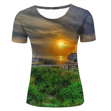 Unisex 3D Print T-Shirt splendid clouds on sea Graphic Casual Couple Tees ekNKN5e