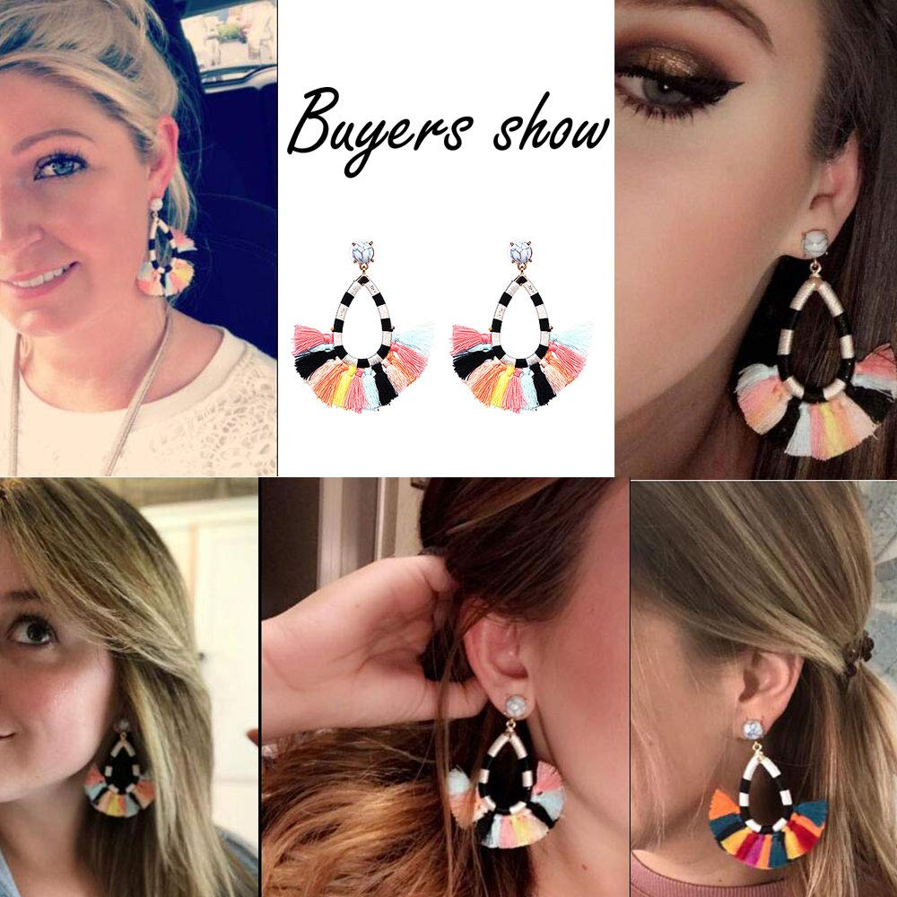 Womens Beaded Tassel Earrings Long Fringe Drop Bohemian Earings Dangle 7 Colors