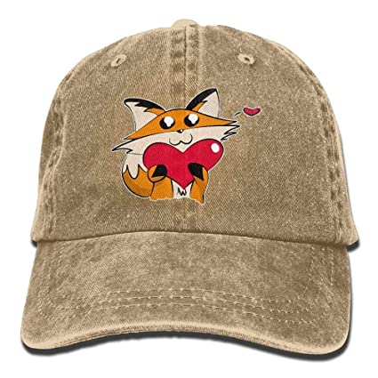 Image Unavailable. Image not available for. Color  VHJLI Mens Womens  Baseball Cap Red Fox Love Washed Jean Trucker Hat ... e30c4f7e58f9