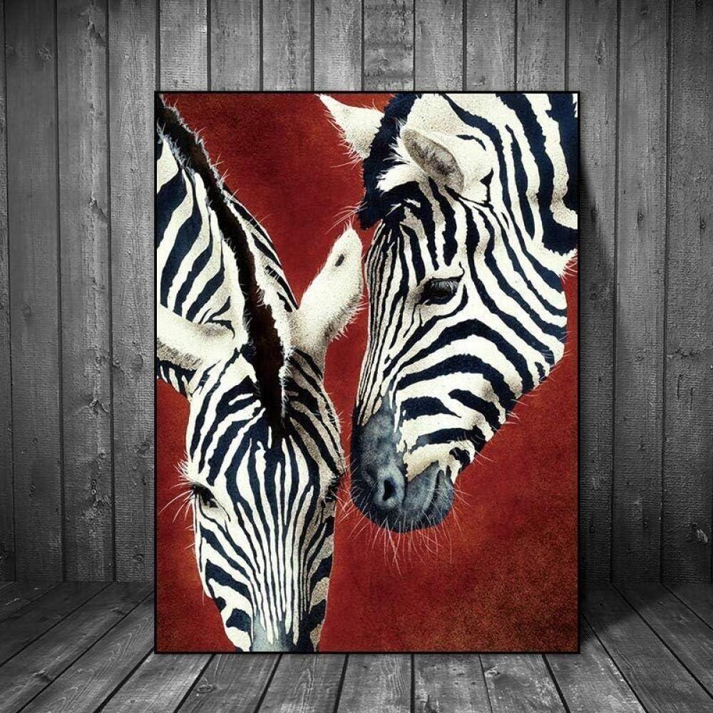 YB Cuadro en Lienzo Estampado de Cebra Rojo Animal Cuadros Abstractos de la Pared para la decoración de la Sala de Estar 60 cm x 90 cm Sin Marco
