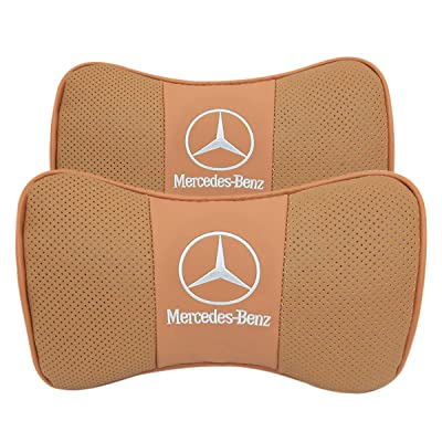 Wall Stickz 2 PCS Genuine Leather Bone-Shaped Car Seat Pillow Neck Rest Headrest Comfortable Cushion Pad with Mercedes-Benz Logo Pattern Pillow (Light Brown): Automotive