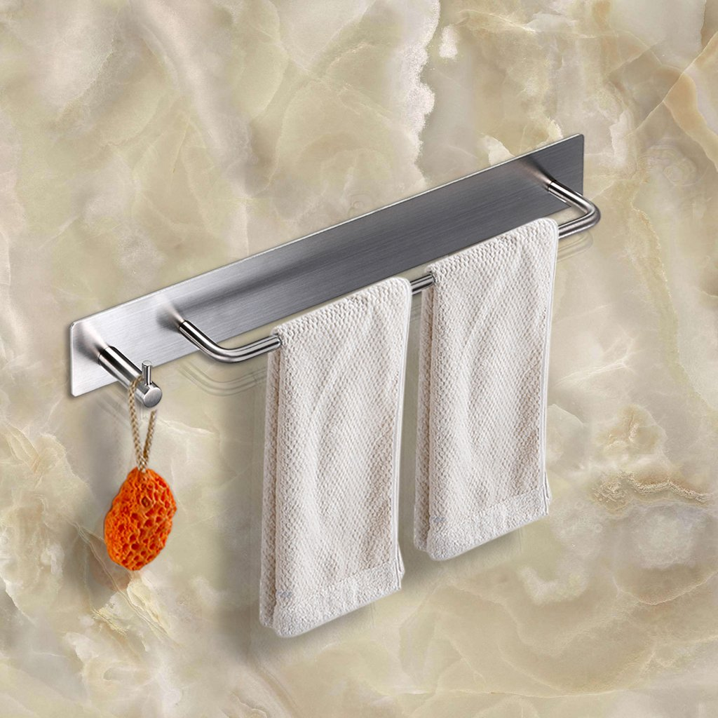 BTSKY 3M Self Adhesive Stainless Steel Hand Towel Holder Hanger Rail with Hook Organizer Rack Bar Bathroom Accessories