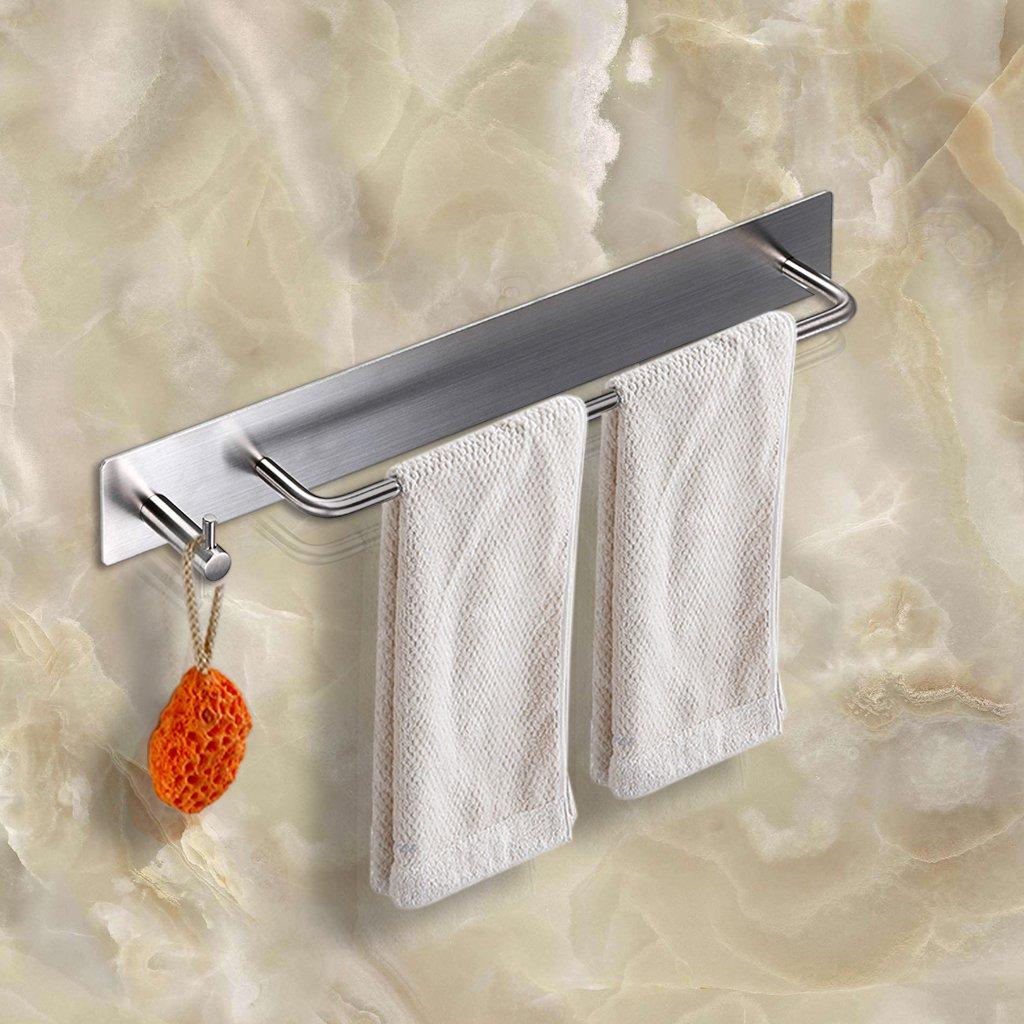 BTSKY 3M Self Adhesive Stainless Steel Hand Towel Holder Hanger Rail with Hook Organizer Rack Bar Bathroom Accessories