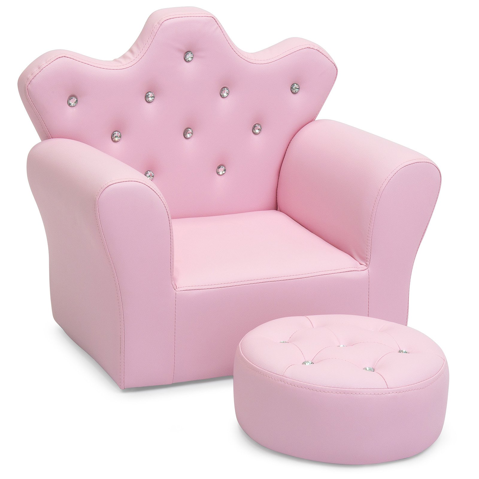 Kids mini sofa chair armrest upholstered tufted w ottoman home furniture pink