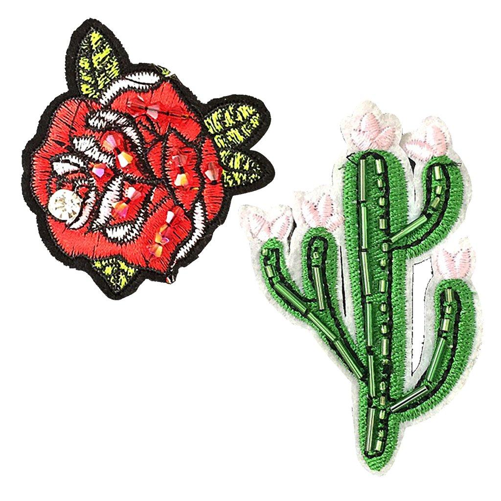Jili Online 2 Pieces Flower//Cactus Patch DIY Applique Embroidered Sewing Garment Decoration