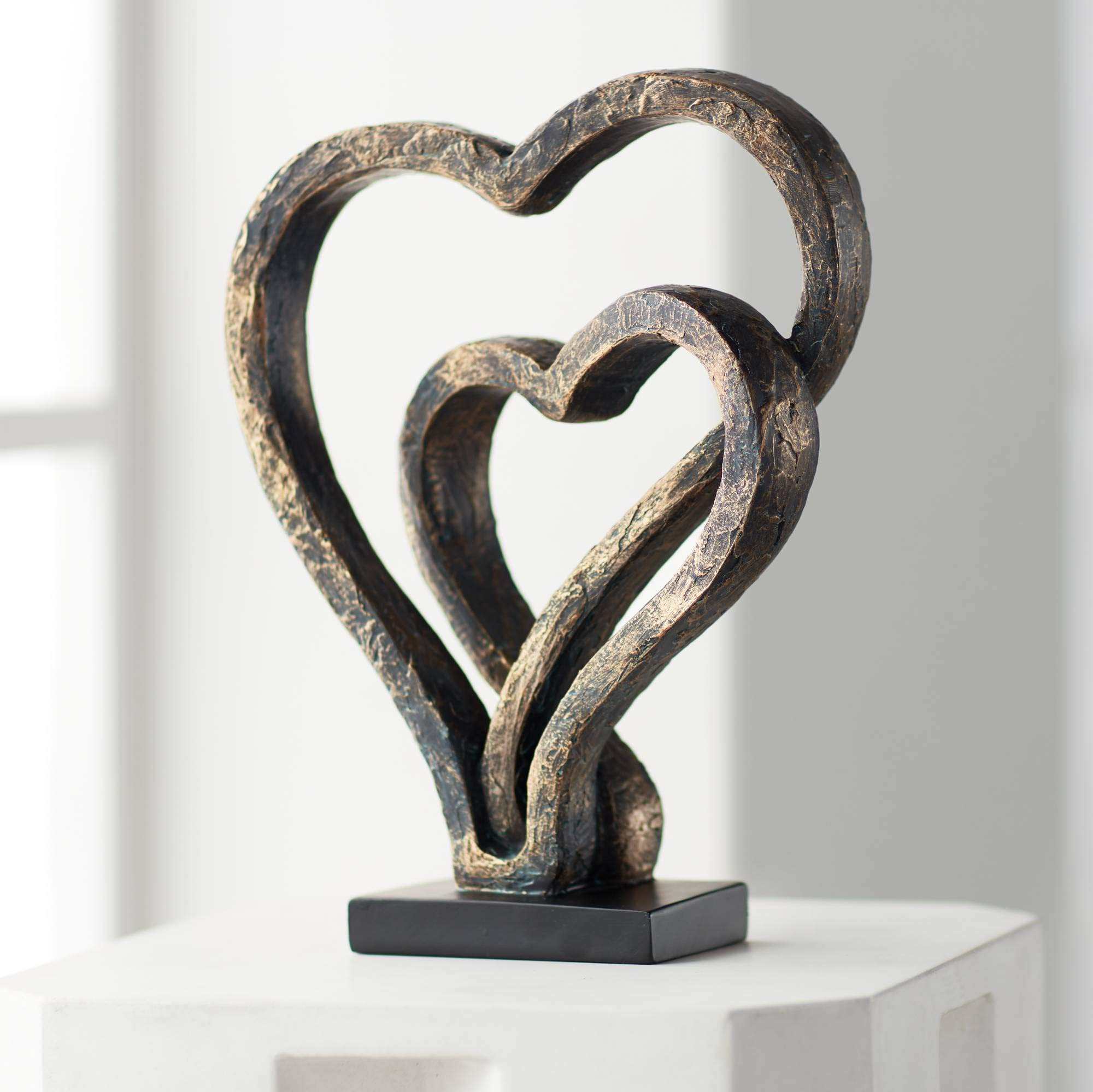 Kensington Hill Interlocking Hearts 11 3/4'' High Bronze Sculpture by Kensington Hill