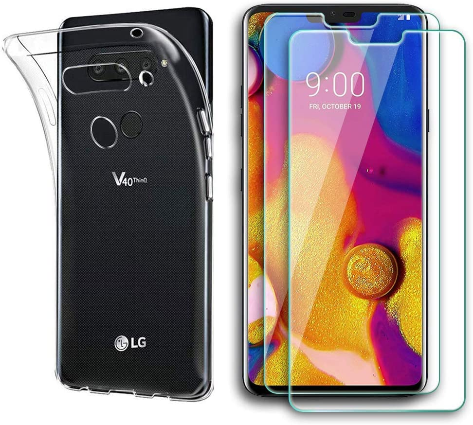 LG V40 ThinQ Case with Tempered Glass Screen Protector Anti Scratch Bubble Free 2 Pack Screen Protector Compatible with LG V40 ThinQ, 1 Pack Clear TPU Case for LG V40 ThinQ, Case Friendly