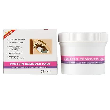 Beauty7 MAX2 Maquillaje y Proteína Remover Pads 75pcs para Pestañas Individuales Extensión Pestañas Postizas Desmaquillantes Ojos