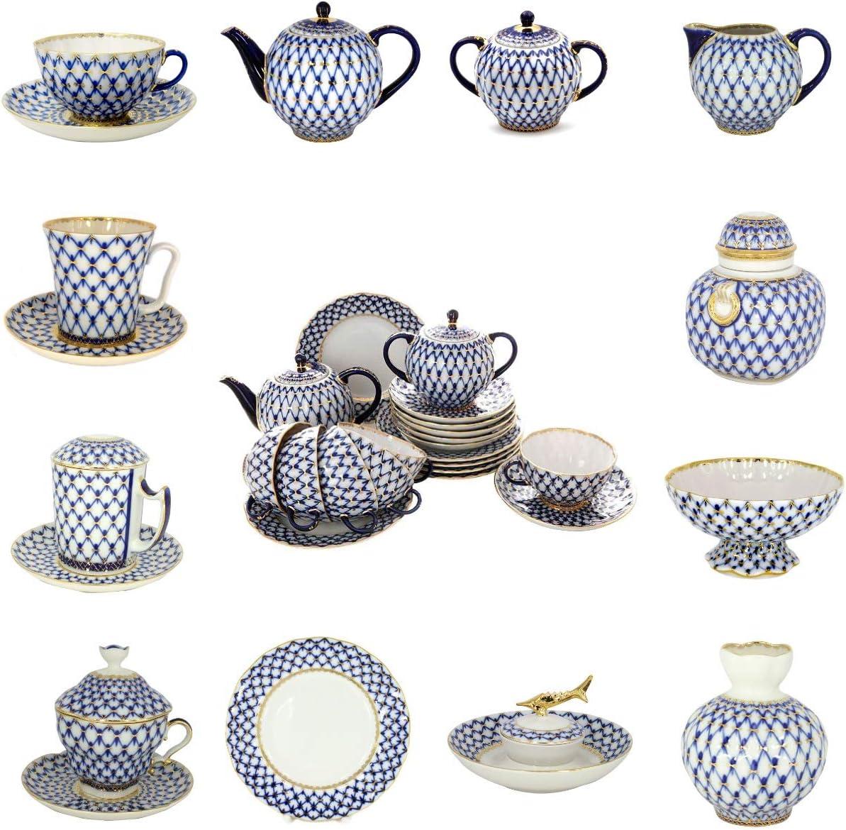 Lomonosov Porcelain Cobalt Net Candy Vase