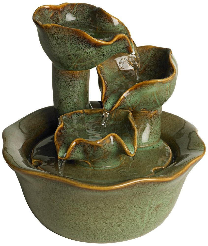 Organic Water Lily Ceramic 8'' High Tabletop Fountain