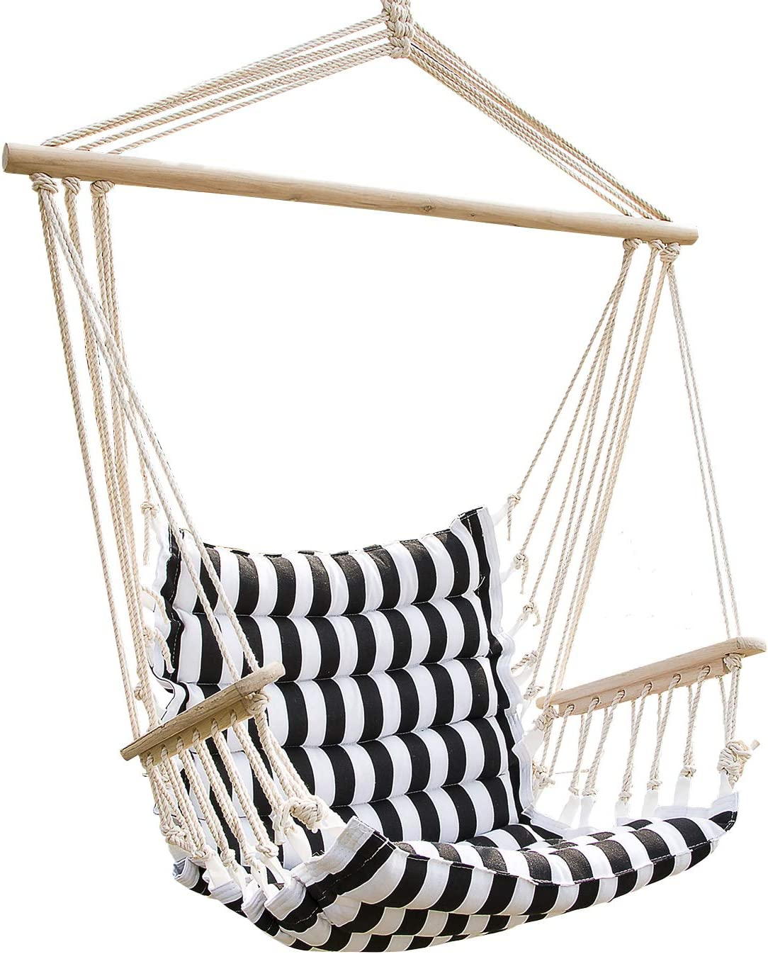 Amazon Com Uhom Hanging Hammock Swing Chair Patio Seat With Wood Stick Indoor Outdoor Furniture Decor