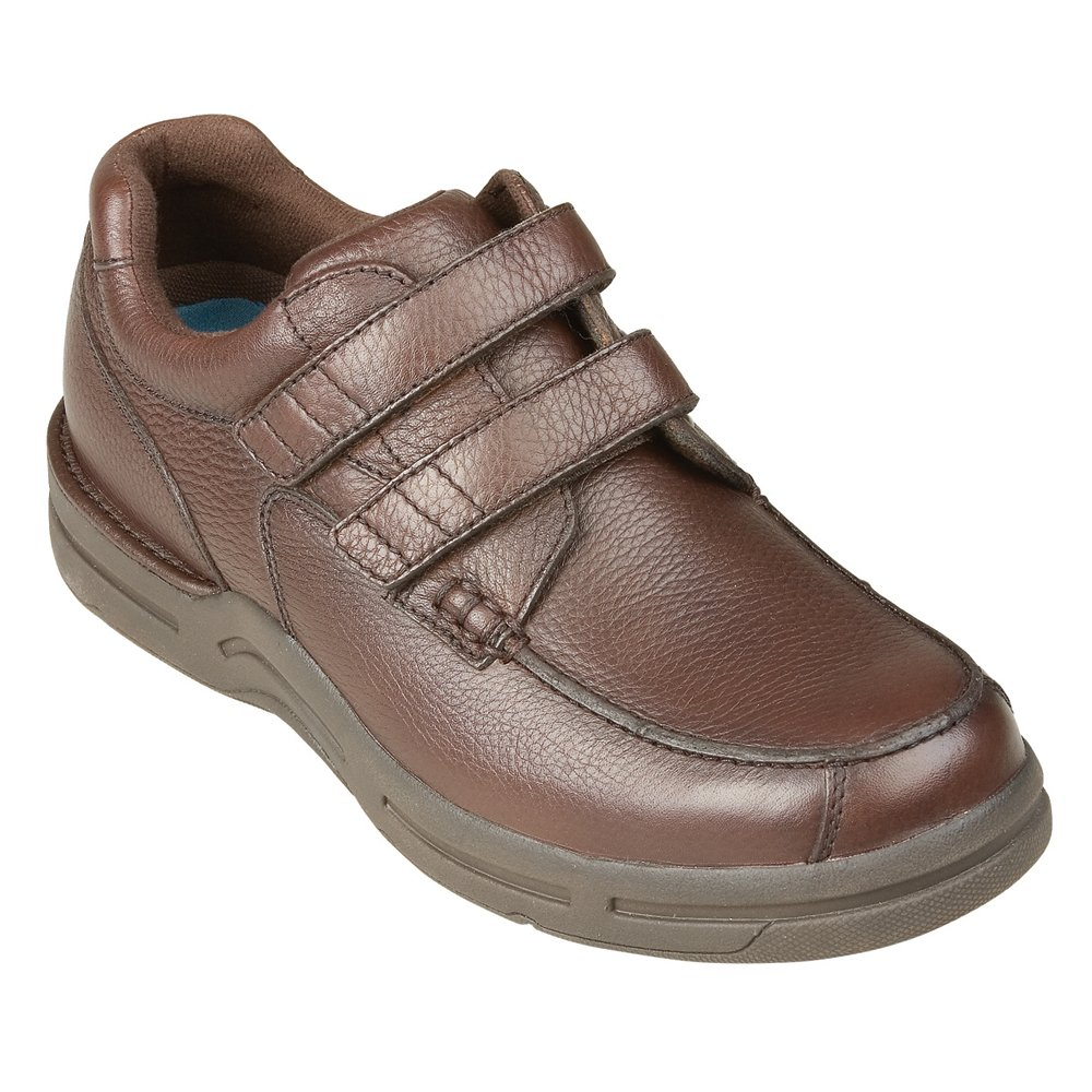 InStride Durango Men's Comfort Therapeutic Extra Depth Casual Shoe leather velcro 7.0 X-Wide (4E) Brown Velcro US Men|Brown