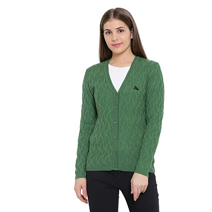 9bfd7a00e2bc Monte Carlo Women s Self Design Woolen V-Neck Cardigan (Dark Green   BBAPLMC66629 XXL)