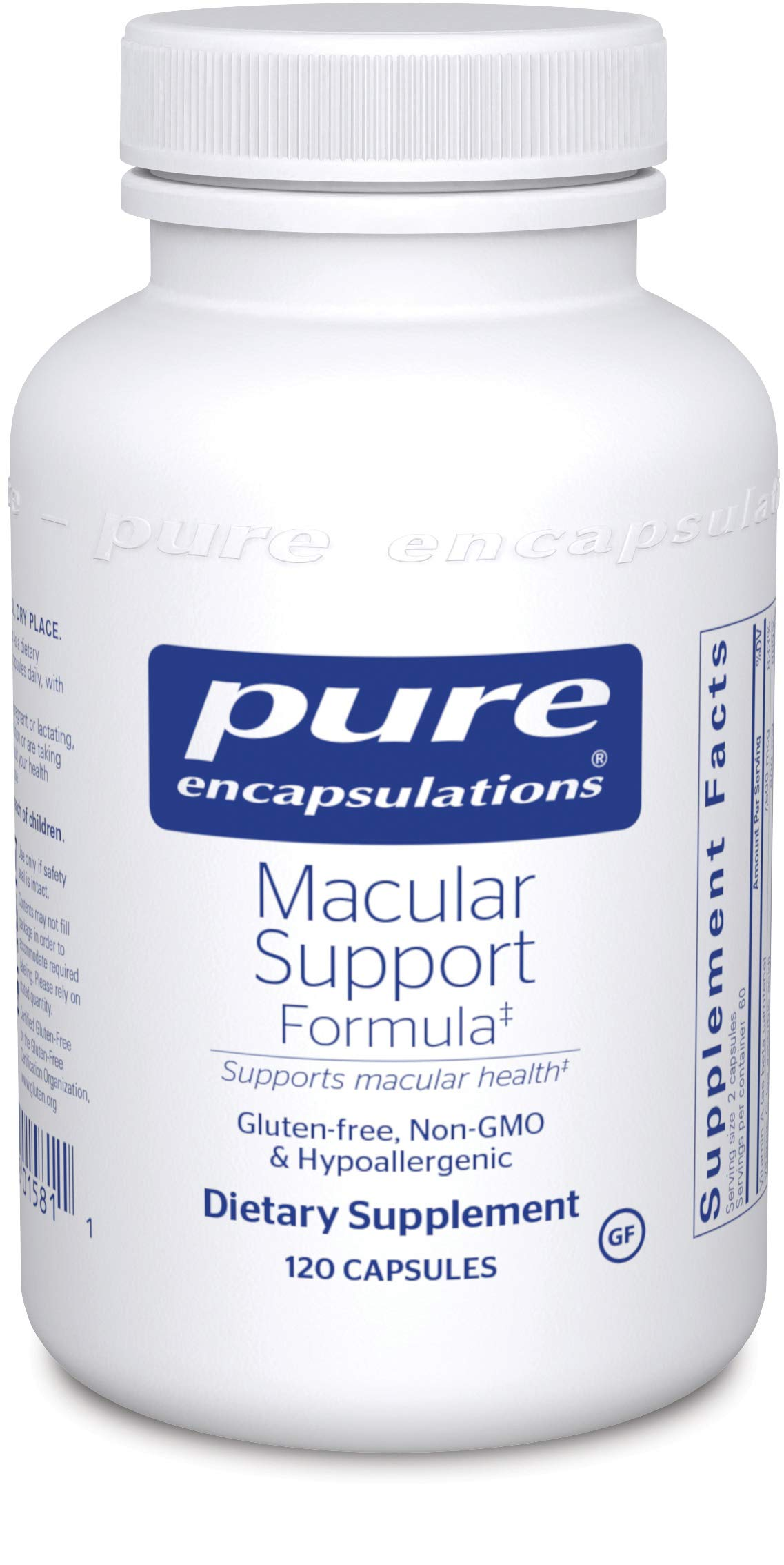 Pure Encapsulations - Macular Support Formula - Hypoallergenic Supplement with Enhanced Antioxidant Formula for Healthy Eyes* - 120 Capsules