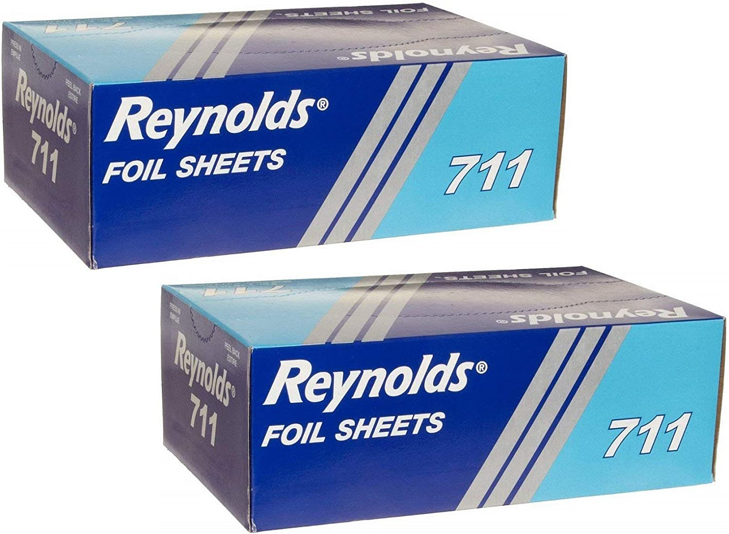 Reynolds 500 Foil Sheets Box, Pop-Up Interfolded Aluminum Foil 9 x 10.75 Inch Sheets in Silver. Pack of 2