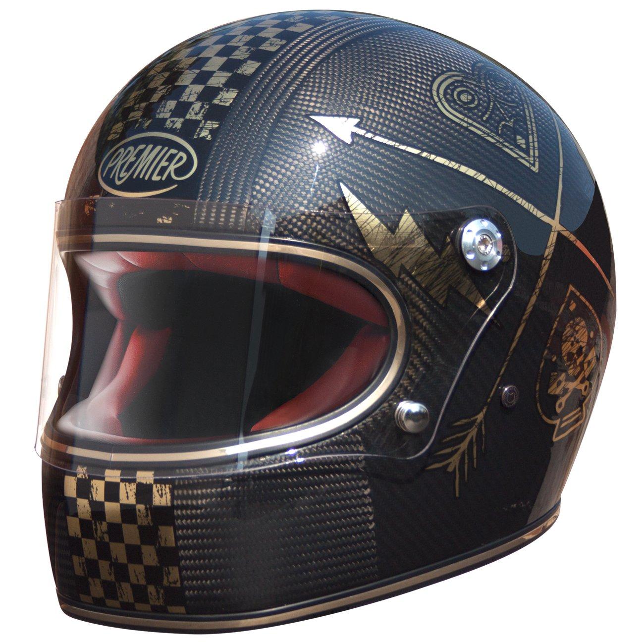 Noir//Or Premier Casque moto TROPHY CARBON NX GOLD CHROMED M