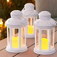 Lights4fun Conjunto de 3 farolillos Blancos con Vela
