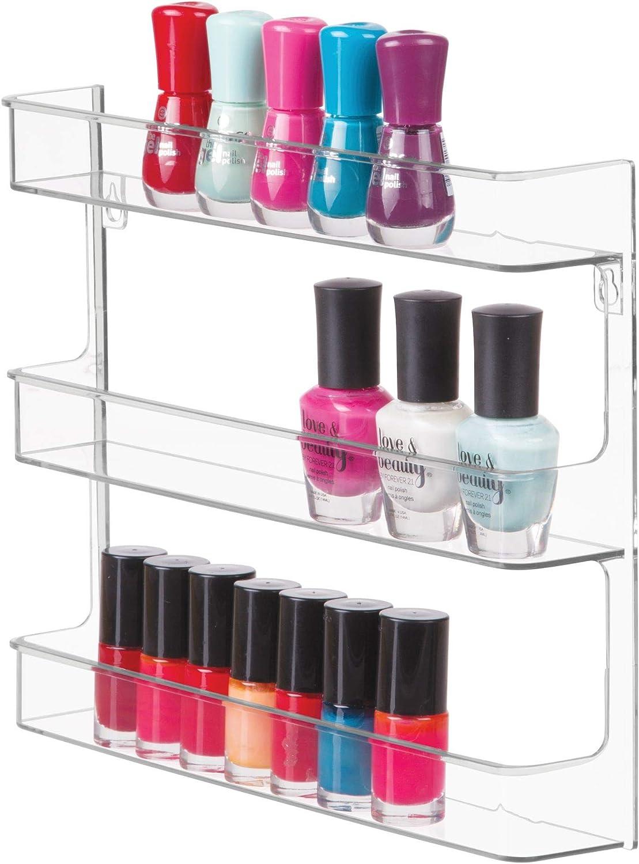 iDesign Clarity Nail Polish Storage Rack with 3 Bathroom, Vanity, Closet, Bedroom, Wall Mount Shelves