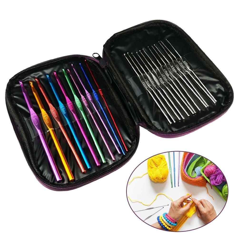 Nicedeal 22 pezzi in acciaio INOX, in lega di alluminio uncinetti multi color Crocheting kit di aghi strumenti art deco di casa per l'ufficio