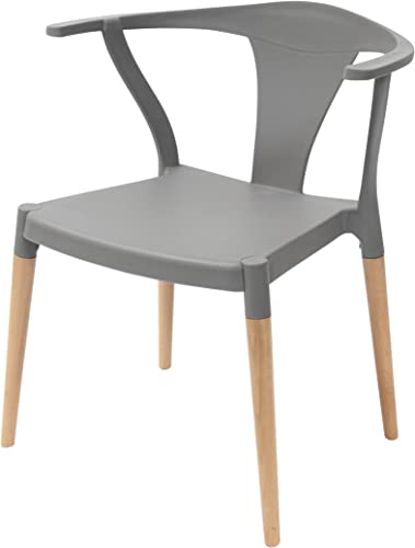 Icon Series Gray Modern Accent Dining Arm Chair Beech Wood Leg