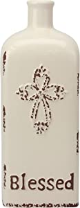 """Stonebriar Decorative 12"""" Worn White Ceramic Bottle with Cross Detail, French Country Home Decor Accents, Vintage Vase Decoration for Dried or Artificial Flowers"""