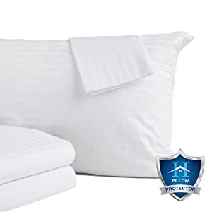 Home Fashion Designs 4-Pack 100% Cotton Pillow Protectors. 400 Thread Count Hypoallergenic Pillow Cover. Dust Mite, Bed Bug Cover, Zippered Pillow Protectors. (King Size)