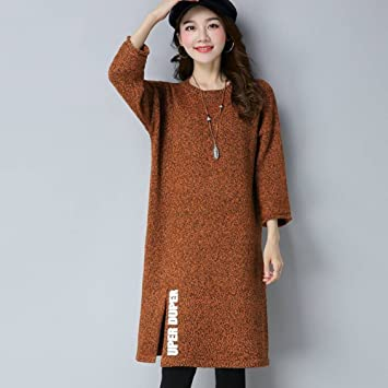 Suéter de la Hermana Gorda Femenina Gran Suéter Flojo Flojo Largo Suéter Vestido , amarillo ,