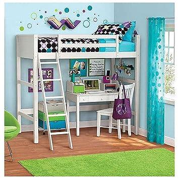 teen loft beds twin bunk bed desk ladder kids bedroom white wood furniture