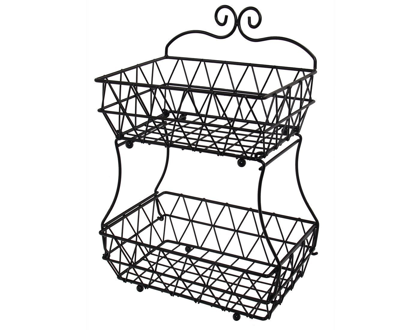 Upgraded Version - ESYLIFE 2 Tier Fruit Bread Basket Display Stand - Screws Free Design