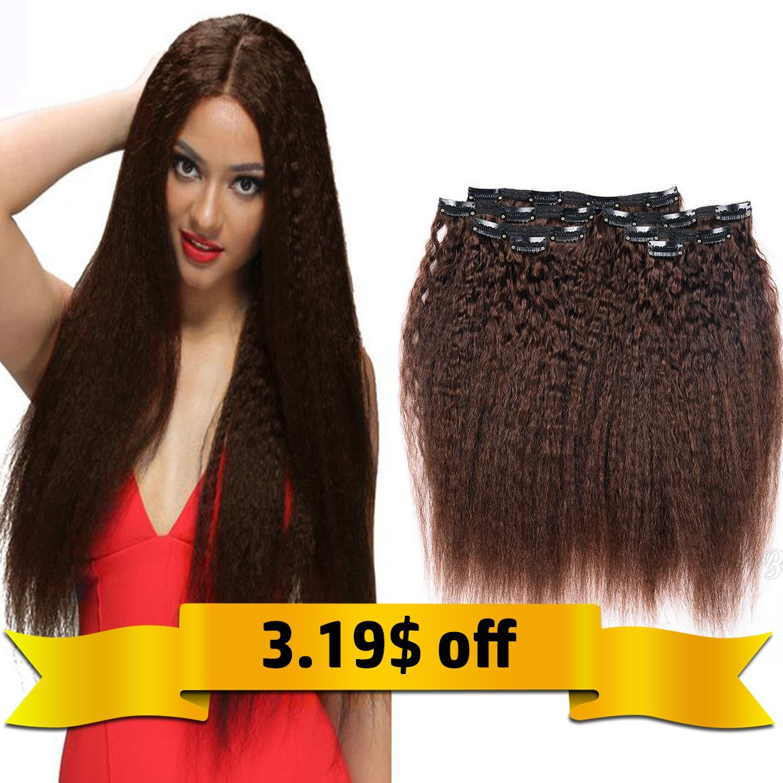Amazon Kinky Straight Clip In Human Hair Extensions Double
