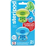 Steripod Clip-On Toothbrush Protector, Blue & Green, 2Count