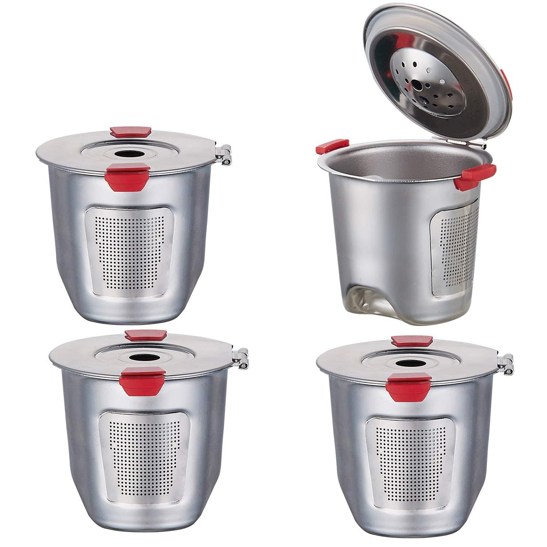 Reusable k Cups For Keurig 2.0 & 1.0 Coffee Machines Universal Stainless Steel Reusable Keurig Filter keurig Reusable k cup 100% BPA-Free(4PCS)