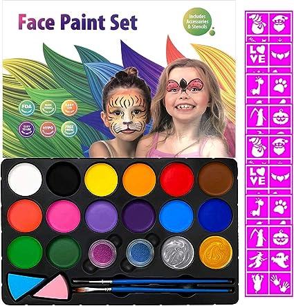 Amazon.com: Kit de pintura facial para niños, 60 plantillas ...