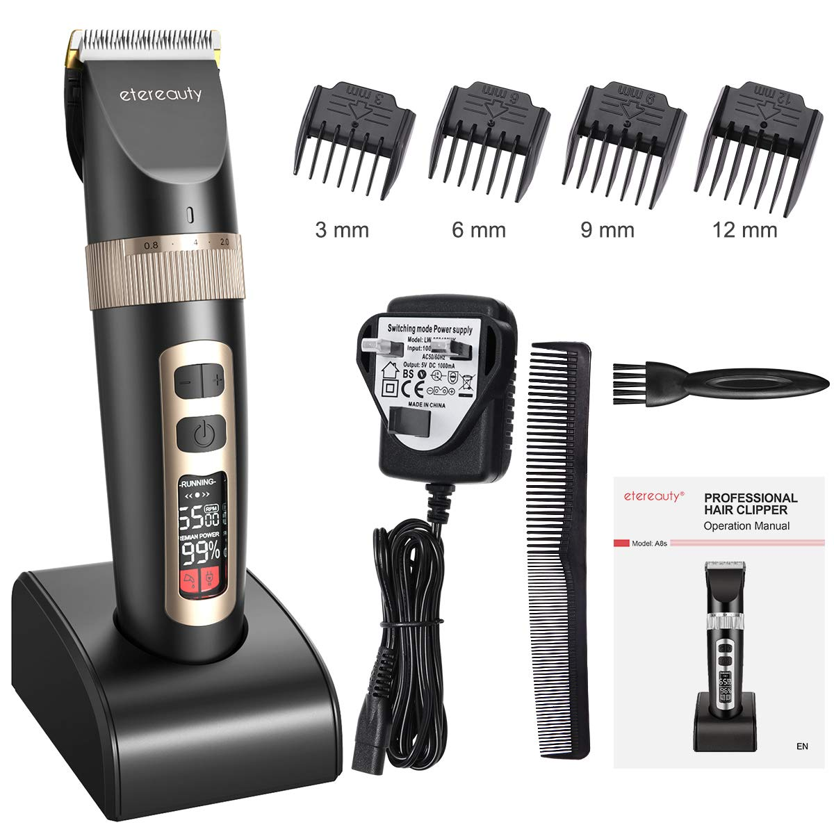 Hair Clippers Etereauty Professional Cordless Mens Clippers Hair