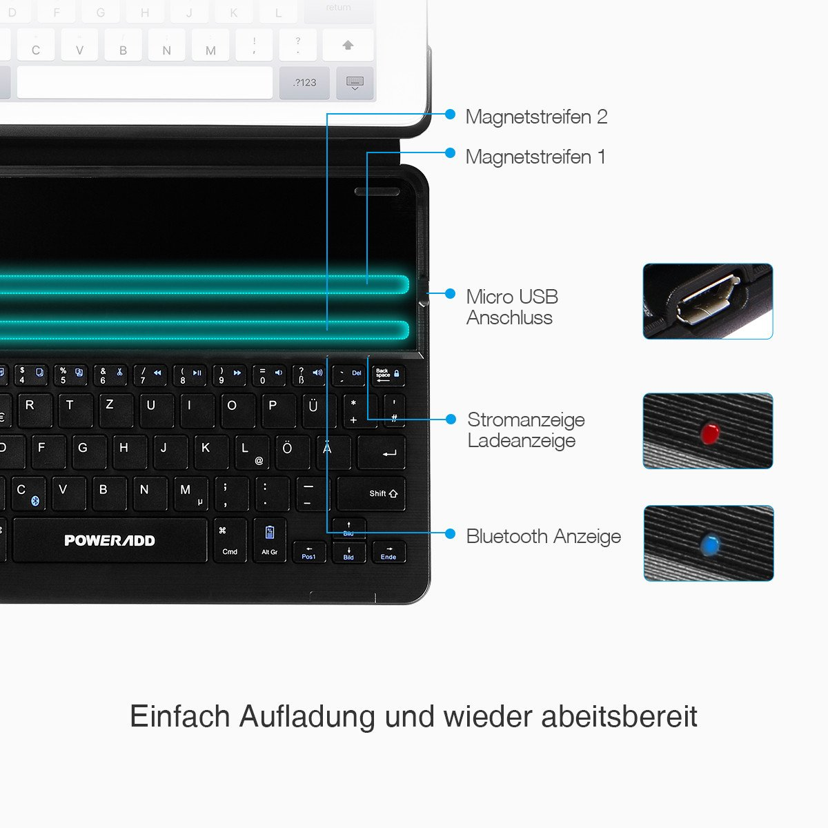 Poweradd iPad Air 2 und iPad Pro 9.7 Bluetooth Tastatur Hülle Keyboard Case