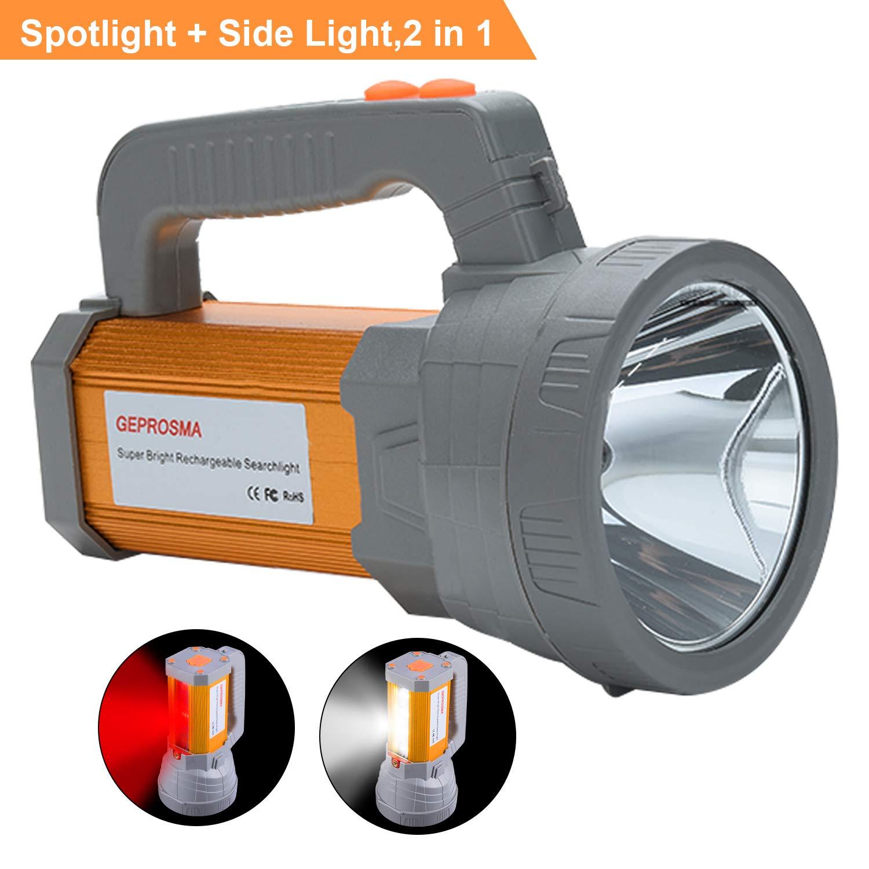 Super Bright Rechargeable LED Spotlight Flashlight High Powered 6000 Lumens CREE Handheld Searchlight Large 18650 Battery 10000mah Long Lasting Waterproof, Side Flood Light Camping Lantern Work Light