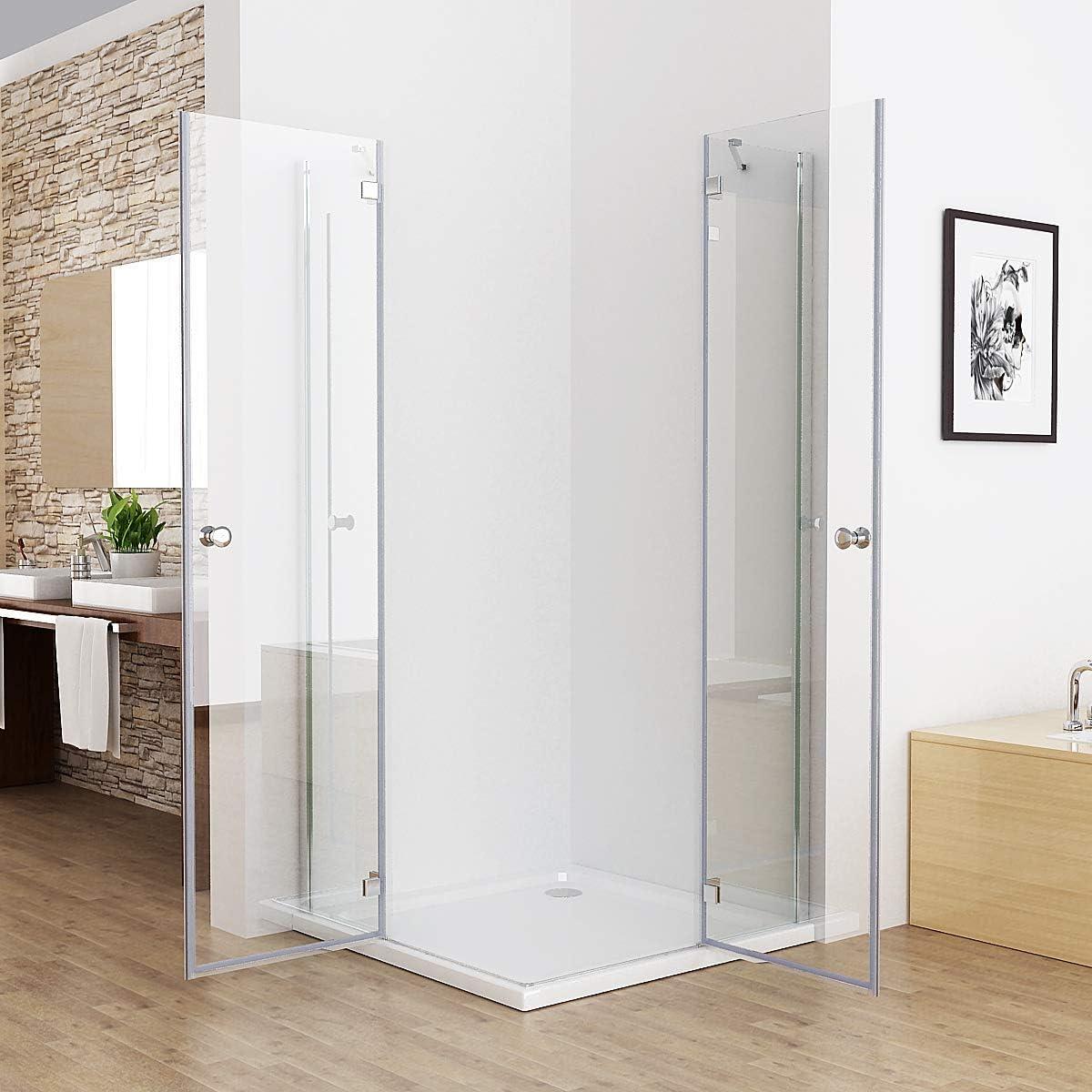 Mampara de ducha para esquina de 75 – 100 x 75 – 100 cm, vidrio ...