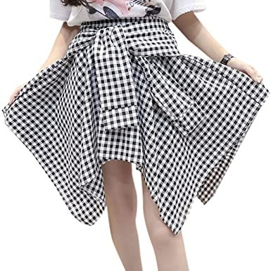 511d9afa14eb3 Qiman Womens Girl Elastic Waist Plaid School Skater Mini Skirt ...