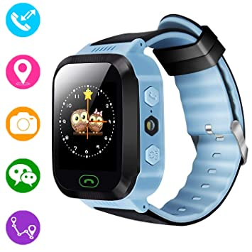 Reloj inteligente para niños, rastreador GPS para niños niñas niños verano al aire libre cumpleaños con cámara SIM llamadas anti-pérdida SOS ...