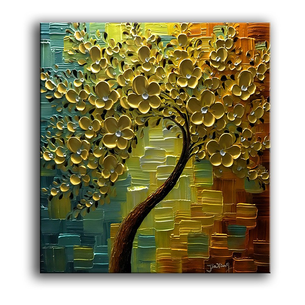 Yasheng art 3d oil paintings on canvas golden flowers tree paintings abstract artwork wall art for living roomdinning room home decor framed stretched