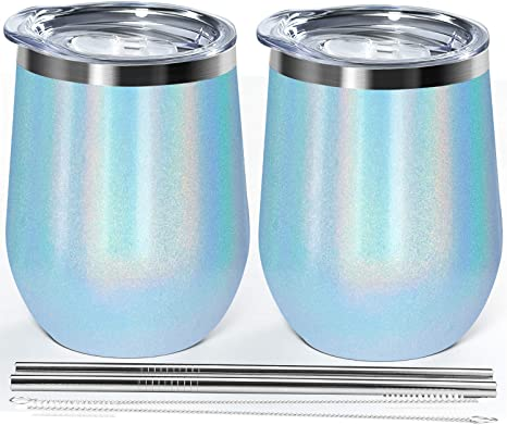 Amazon Com Wine Tumbler 12oz Double Wall Vacuum Insulated Stainless Steel Stemless Unbreakable Wine Glasses Glitter Charcoal Water Cup With Spill Proof Sliding Lid Gift Box For Coffee Beer Ice Cream Blue 2