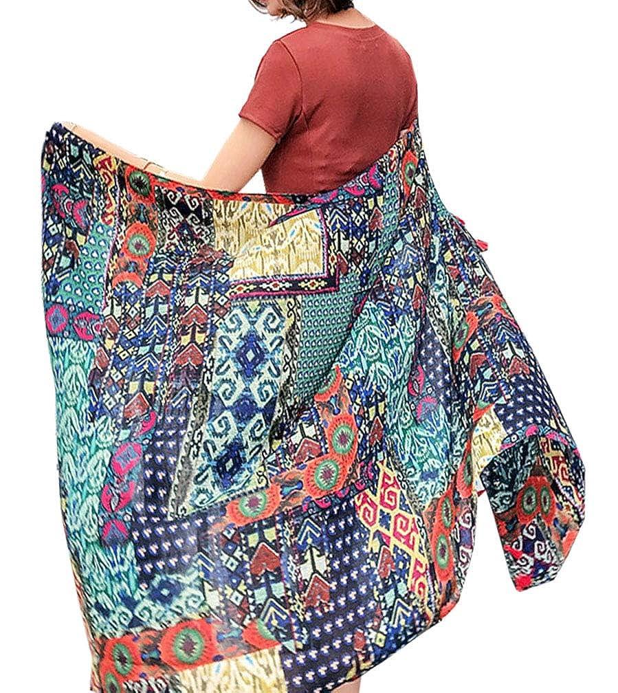 Womens Boho Bohemian Soft Blanket Oversized Fringed Scarf Wraps Shawl Sheer Gift